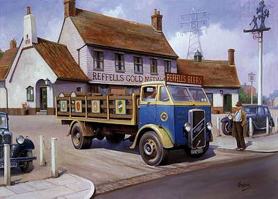 Townscape Painting - The Woodman Pub. by Mike  Jeffries