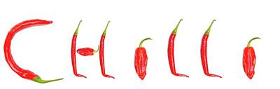 The Word  Chilli  Spelled With Red Print by John Short