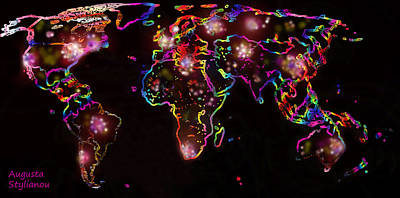 The World At Night  Print by Augusta Stylianou