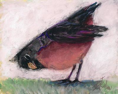 Bird And Worm Pastel - The Worm Listener by Billie Colson