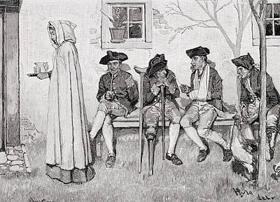The Wounded Soldiers Sat Along The Wall, Illustration From Harpers Magazine, October 1889 Litho Print by Howard Pyle
