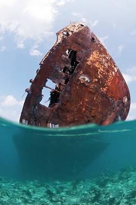 The Wreck Of Skipjack II In The Maldives Print by Scubazoo