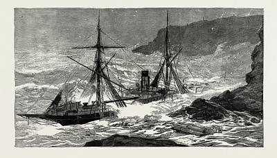 The Wreck Of The Cunard Steamship Malta Off Cape Cornwall Print by Litz Collection