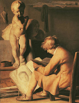 Nude Children Drawing - The Young Artist by Jan the Elder Lievens