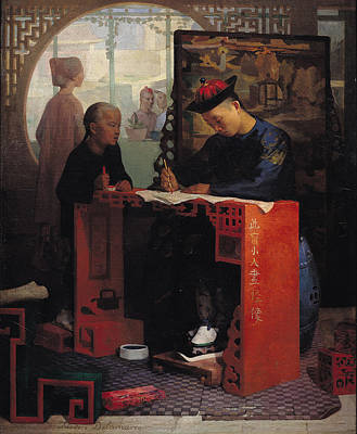 The Young Chinese Scribe Oil On Canvas Print by Theodore Delamarre