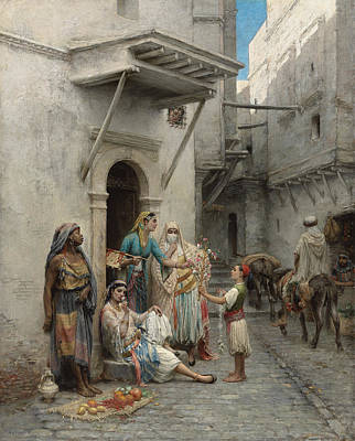Bazaar Painting - The Young Flower Seller by Pierre Outin