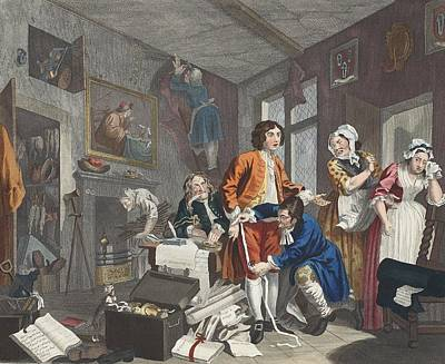Weeping Drawing - The Young Heir Takes Possession by William Hogarth