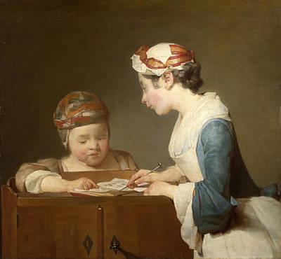 The Young Schoolmistress Print by Jean-Simeon Chardin