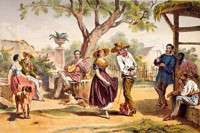 West Indies Drawing - The Zapateado - National Dance, 1840 by Federico Mialhe
