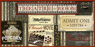 Tickets Digital Art - Theatre Room by Jean Plout