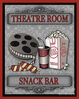 Snack Bar Digital Art - Theatre Room-jp2207 by Jean Plout