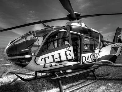 Helicopter Photograph - Theda Star Black And White by Thomas Young