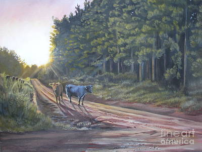 Steer Painting - Them Cows Is Out Again by Callie Smith