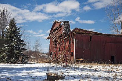 Red Barn In Winter Photograph - Then The Roof Caved In by Ginger Harris