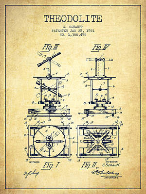 Old Blueprint Digital Art - Theodolite Patent From 1921- Vintage by Aged Pixel