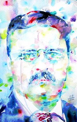 Theodore Roosevelt - Watercolor Portrait Print by Fabrizio Cassetta