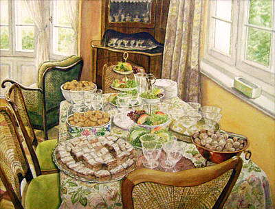 Interior Scene Painting - There Was A Party by Maria Varga-Hansen