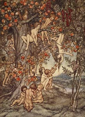 Pandora Drawing - There Was No Danger, No Trouble Of Any by Arthur Rackham