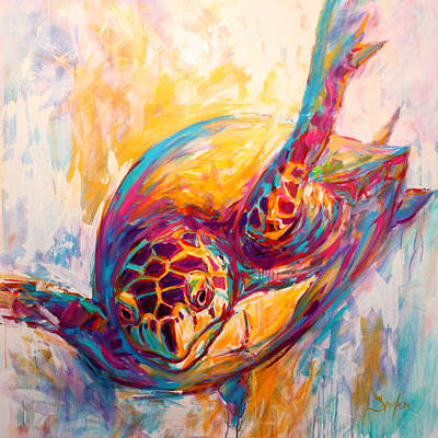 Abstract Seascape Painting - There's More Than Just Fish In The Sea - Sea Turtle Art by Savlen Art