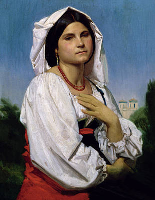 Necklace Painting - Therese by William-Adolphe Bouguereau