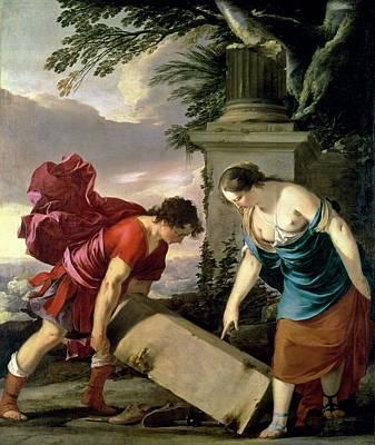 Bare Breasts Photograph - Theseus And His Mother Aethra, C.1635-36 Oil On Canvas by Laurent de La Hire or La Hyre