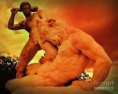 Minotaur Photograph - Theseus And The Minotaur by John Malone