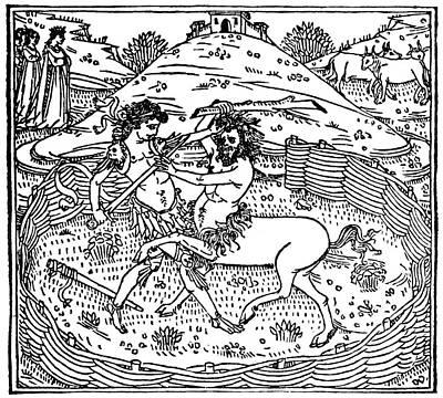 Centaur Painting - Theseus Battling Centaur by Granger