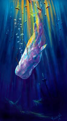 Whale Digital Art - Thew White Whale by Yusniel Santos