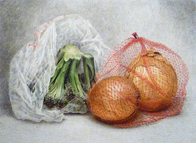 Broccoli Drawing - They Are In The Bag by Ann Maulucci