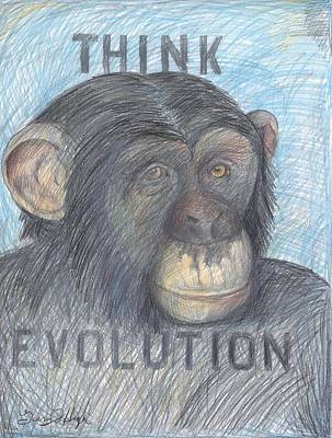Chimpanzee Drawing - Think Evolution by Gerry High