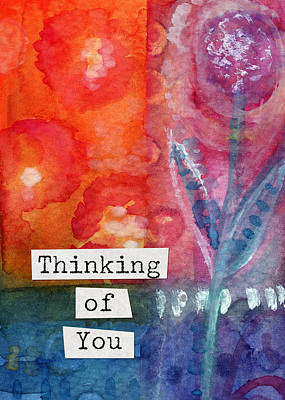 Sympathy Painting - Thinking Of You Art Card by Linda Woods
