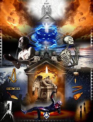 Digital Art - Third Degree Masonic Tracing Board by Gregory Stewart
