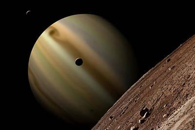 Exoplanet Mixed Media - Third Moon by Marc Ward