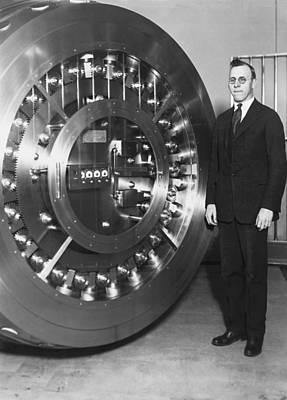 Thirty Ton Bank Vault Door Print by Underwood Archives