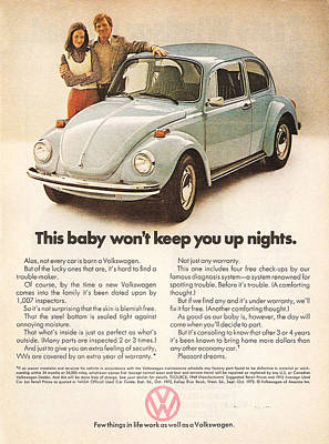 Volkswagen Beetle 1972 Digital Art - This Baby Won't Keep You Up Nights by Georgia Fowler