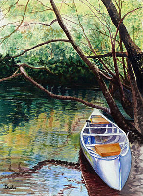 This Canoe Is Waiting For You Print by Susan Duda