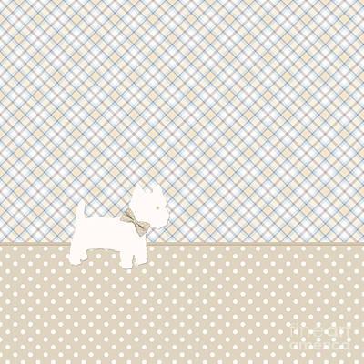 Westie Digital Art - Westie Tartan And Polka Dot Throw Pillow Neutral Colors by Natalie Kinnear
