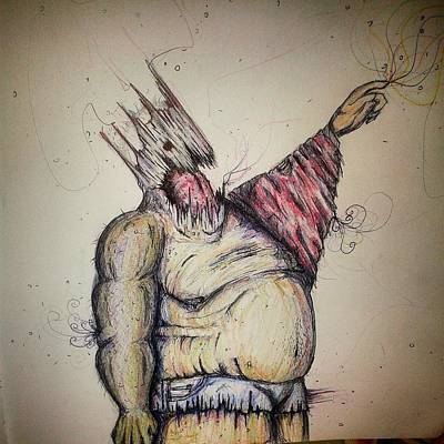 Dark Evil Scary Drawing - This Way King by Gabino Sanchez