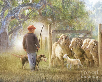 Sheep Digital Art - This Way Please ..... by Trudi Simmonds