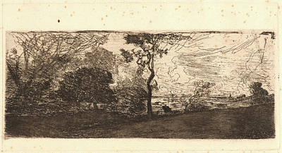 Berry Drawing - Théodore Rousseau French, 1812 - 1867. Un Site De Berry by Litz Collection