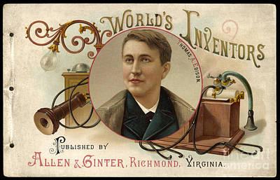 Thomas Alva Edison Photograph - Thomas Alva Edison American Inventor by Mary Evans