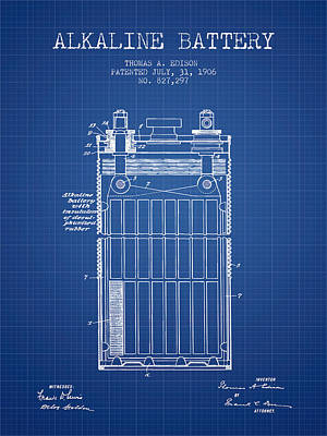 Thomas Edison Alkaline Battery From 1906 - Blueprint Print by Aged Pixel