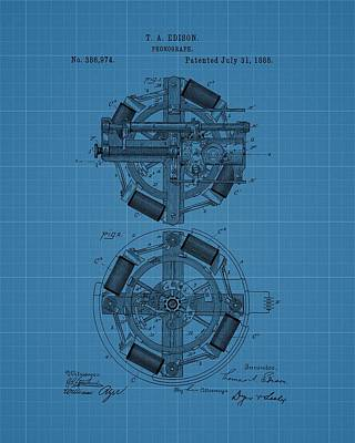 Player Drawing - Thomas Edison Blueprint Phonograph by Dan Sproul