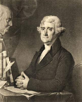 Famous Book Drawing - Thomas Jefferson by American School