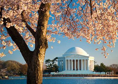 Flower Memorial Photograph - Thomas Jefferson Memorial by Inge Johnsson