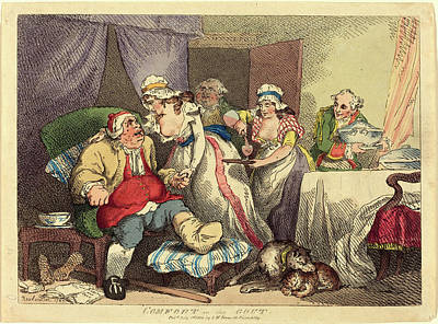 Comfort Drawing - Thomas Rowlandson, British 1756-1827, Comfort In The Gout by Litz Collection