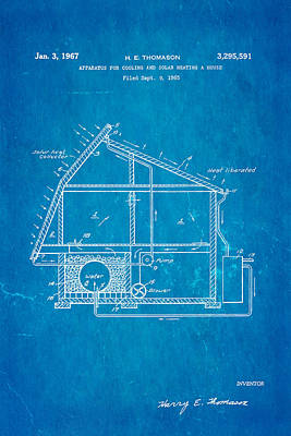 Brickie Photograph - Thomason Green Energy Powered House Patent Art 1967 Blueprint by Ian Monk