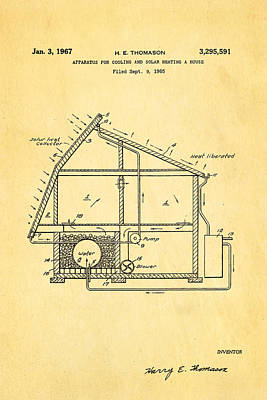 Thomason Green Energy Powered House Patent Art 1967 Print by Ian Monk