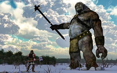 Thor Digital Art - Thor And The Frost Giant by Daniel Eskridge
