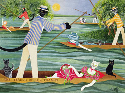 Those Summer Punts Oil On Canvas Print by Pat Scott